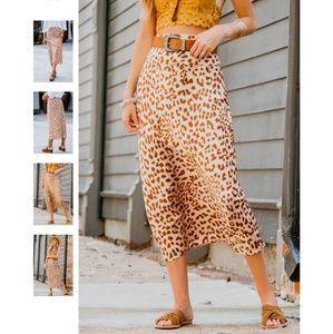 Free People Normani Bias Skirt Leopard